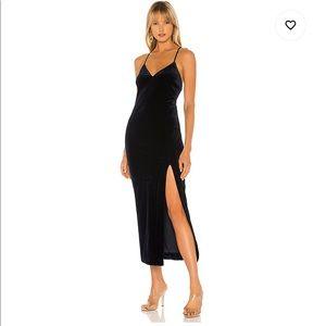 Bardot Black Velvet Courtney Midi Dress
